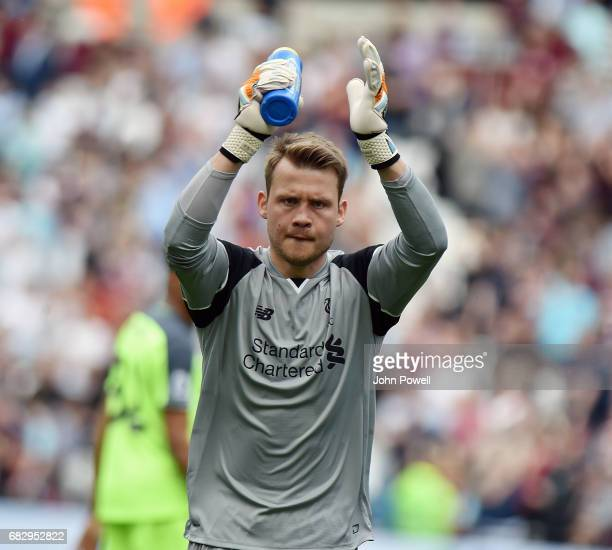 Simon Mignolet of Liverpool during the Premier League match between West Ham United and Liverpool at London Stadium on May 14 2017 in Stratford...
