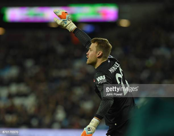 Simon Mignolet of Liverpool during the Premier League match between West Ham United and Liverpool at London Stadium on November 4 2017 in London...