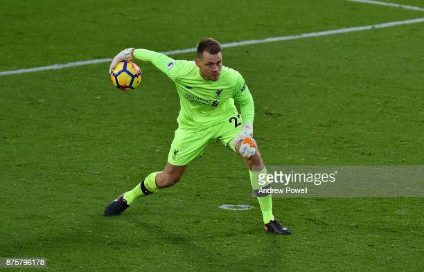 Simon Mignolet of Liverpool during the Premier League match between Liverpool and Southampton at Anfield on November 18 2017 in Liverpool England