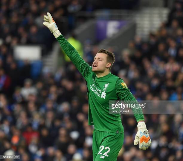 Simon Mignolet of Liverpool during the Premier League match between Brighton and Hove Albion and Liverpool at Amex Stadium on December 2 2017 in...
