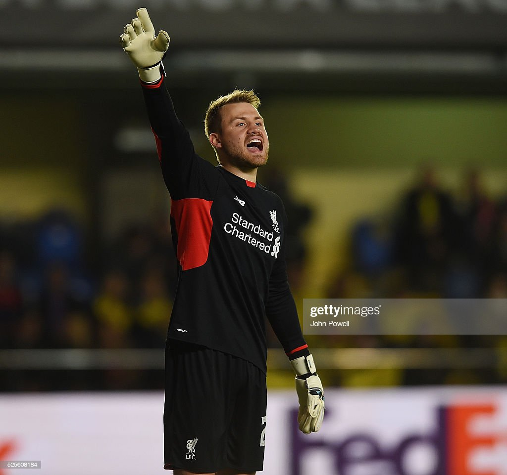 Simon Mignolet of Liverpool during the UEFA Europa League Semi Final: First Leg match between Villarreal CF and Liverpool on April 28, 2016 in Villarreal, Spain.