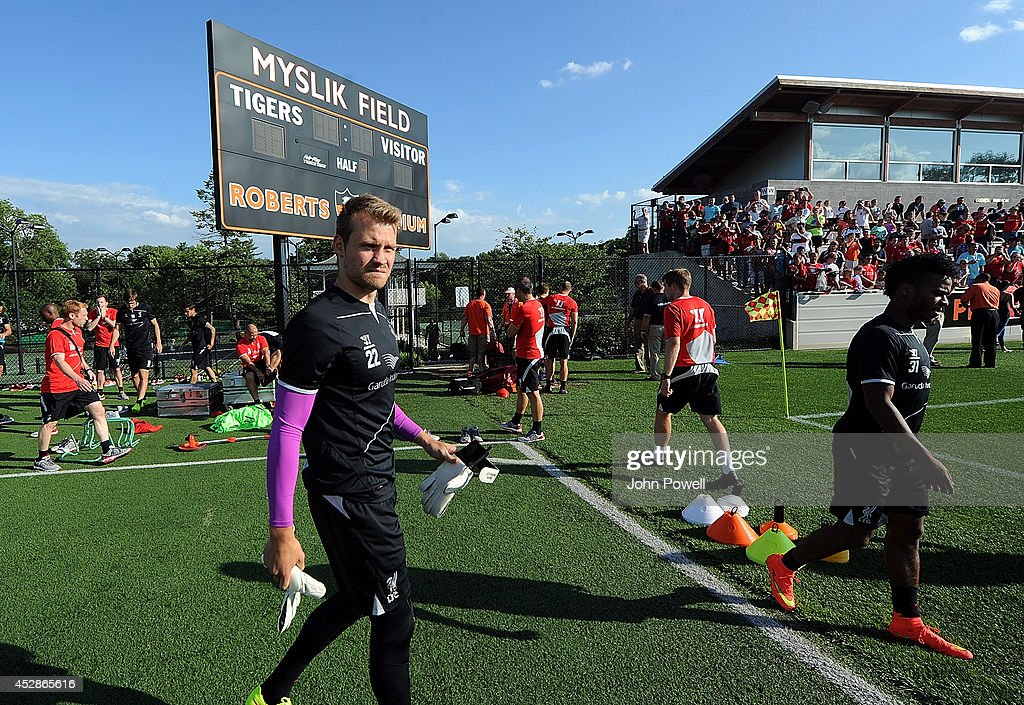 <a gi-track='captionPersonalityLinkClicked' href=/galleries/search?phrase=Simon+Mignolet&family=editorial&specificpeople=7124442 ng-click='$event.stopPropagation()'>Simon Mignolet</a> of Liverpool in action during a training session at Princeton University on July 28, 2014 in Princeton, New Jersey.