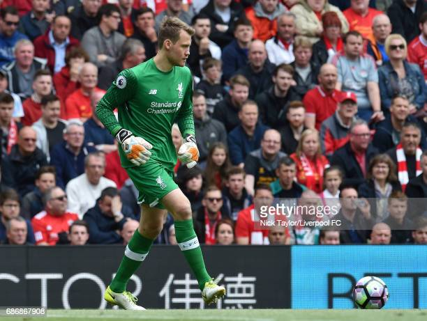 Simon Mignolet of Liverpool in action during the Premier League match between Liverpool and Middlesbrough at Anfield on May 21 2017 in Liverpool...