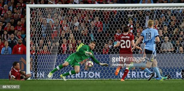 Simon Mignolet of Liverpool makes a save during the International Friendly match between Sydney FC and Liverpool FC at ANZ Stadium on May 24 2017 in...