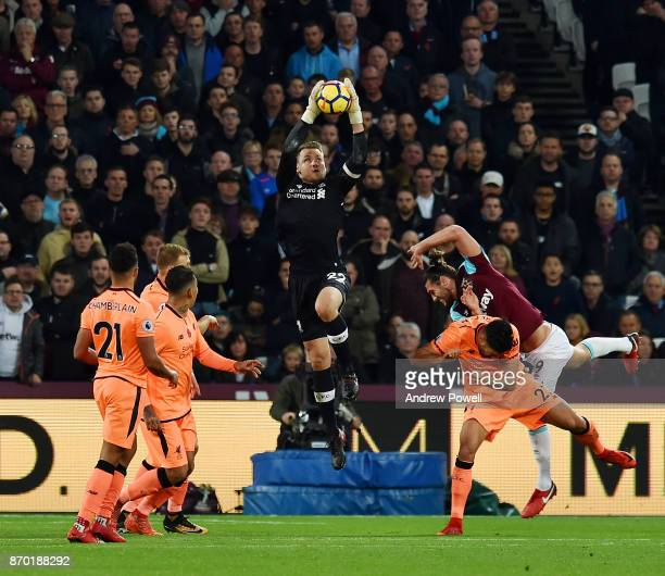 Simon Mignolet of Liverpool makes a save during the Premier League match between West Ham United and Liverpool at London Stadium on November 4 2017...