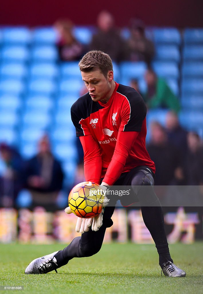 <a gi-track='captionPersonalityLinkClicked' href=/galleries/search?phrase=Simon+Mignolet&family=editorial&specificpeople=7124442 ng-click='$event.stopPropagation()'>Simon Mignolet</a> of Liverpool makes a save during the warm-up before the Barclays Premier League match between Aston Villa and Liverpool at Villa Park on February 14, 2016 in Birmingham, England.