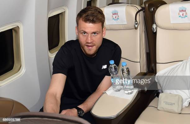 Simon Mignolet of Liverpool on the plane to Australia at Melwood Training Ground on May 22 2017 in Liverpool England