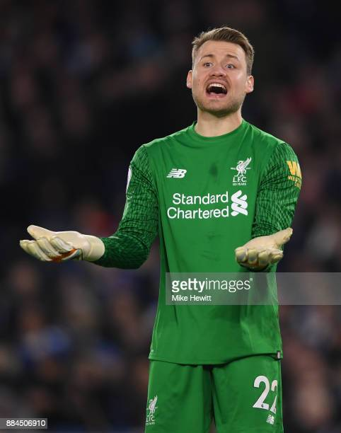 Simon Mignolet of Liverpool reacts during the Premier League match between Brighton and Hove Albion and Liverpool at Amex Stadium on December 2 2017...