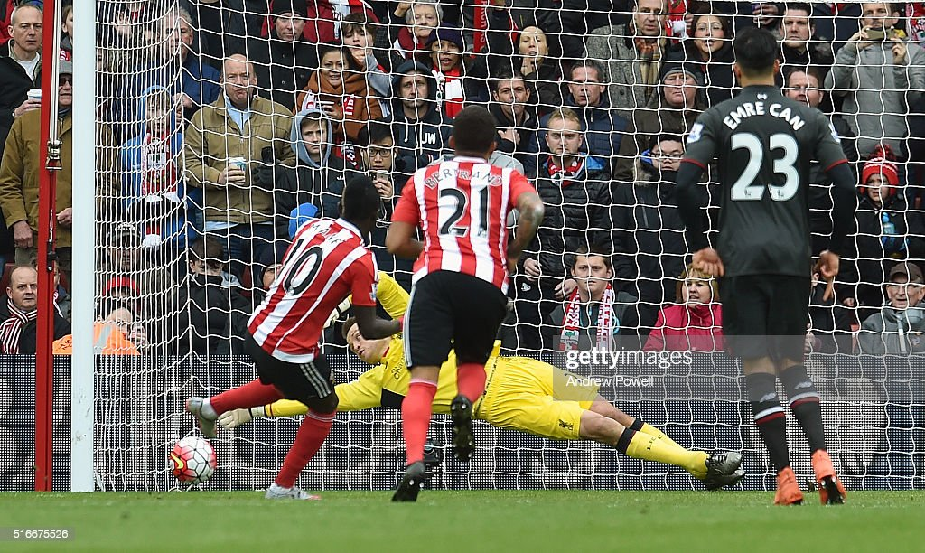 Simon Mignolet of Liverpool saves a penalty taken by Sadio Man of Southampton during the Barclays Premier League match between Southampton and Liverpool at St Mary's Stadium on March 20, 2016 in Southampton, United Kingdom.