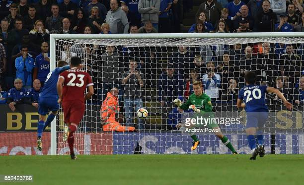 Simon Mignolet of Liverpool Saves The day from a penalty taken by jamie vard of Leicester during the Premier League match between Leicester City and...