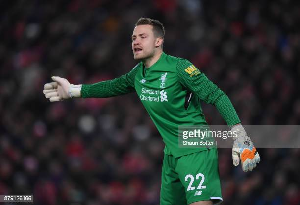 Simon Mignolet of Liverpool shouts instructions during the Premier League match between Liverpool and Chelsea at Anfield on November 25 2017 in...