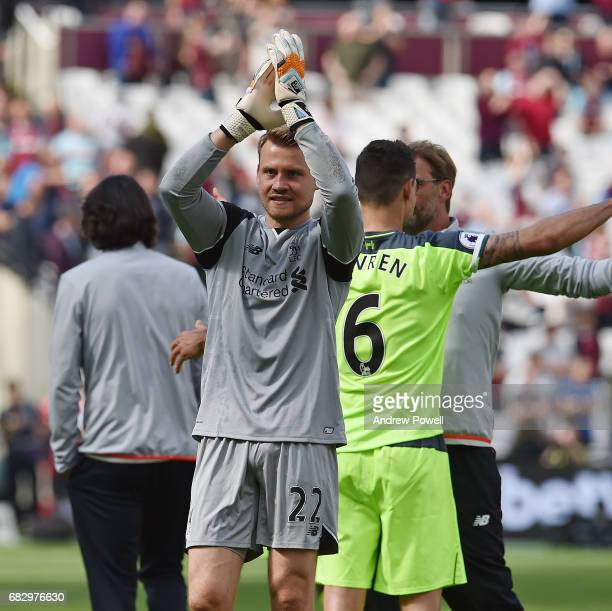 Simon Mignolet of Liverpool shows his appreciation to the fans at the end of the Premier League match between West Ham United and Liverpool at London...