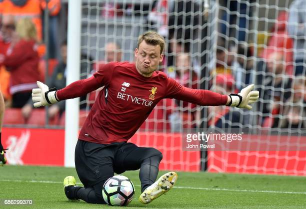 Simon Mignolet of Liverpool warms up before the Premier League match between Liverpool FC and Middlesbrough FC at Anfield on May 21 2017 in Liverpool...