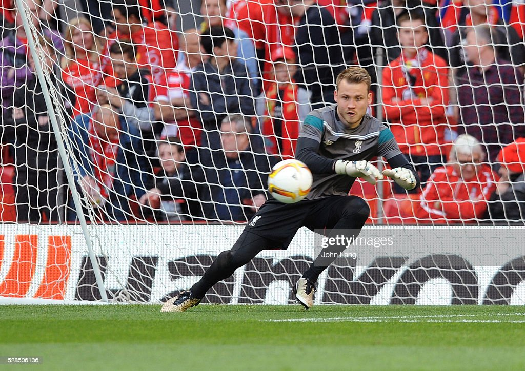 Simon Mignolet of Liverpool warms up before the UEFA Europa League Semi Final: Second Leg match between Liverpool and Villarreal CF at Anfield on May 05, 2016 in Liverpool, England.