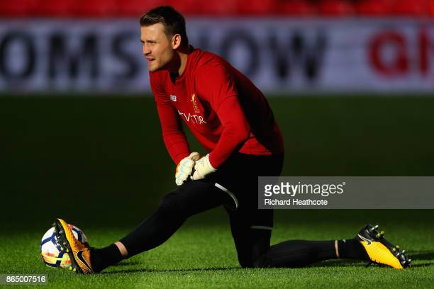 Simon Mignolet of Liverpool warms up prior to the Premier League match between Tottenham Hotspur and Liverpool at Wembley Stadium on October 22 2017...