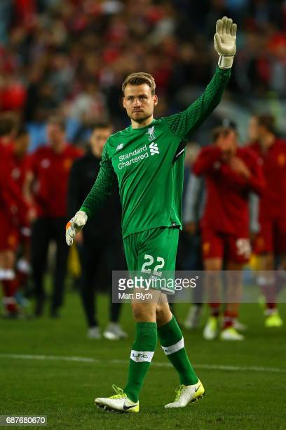 Simon Mignolet of Liverpool waves to the crowd after the International Friendly match between Sydney FC and Liverpool FC at ANZ Stadium on May 24...