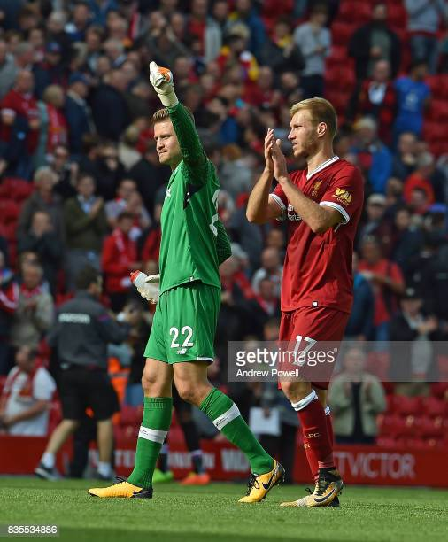 Simon Mignolet with Ragnar Klavan of Liverpool celebrates at the end of the Premier League match between Liverpool and Crystal Palace at Anfield on...