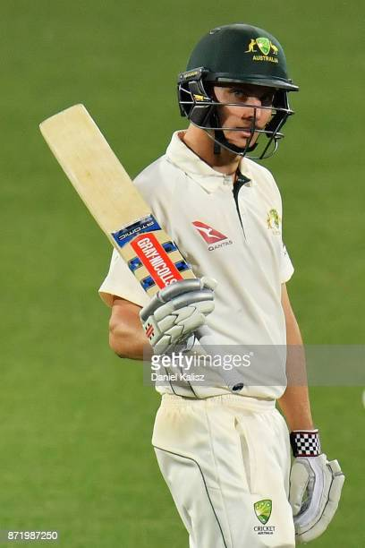 Simon Milenko of CA XI reacts after reaching his half century during day two of the Four Day Tour match between the Cricket Australia XI and England...