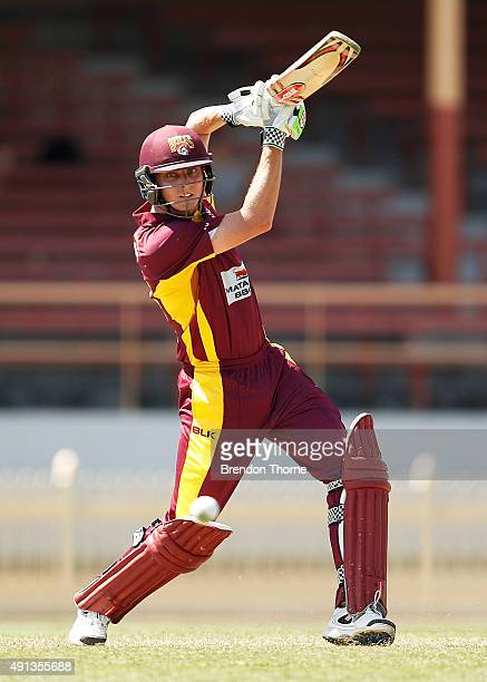 Simon Milenko of Qld plays a stroke on the off side during the Matador BBQs One Day Cup match between Queensland and Tasmania at North Sydney Oval on...