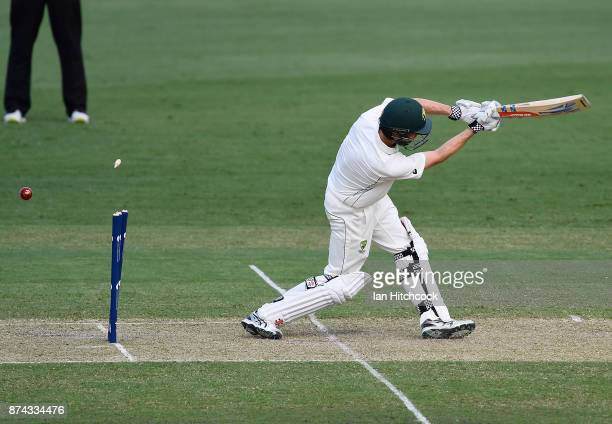Simon Milenko of the CA XI is bowled out during the four day tour match between Cricket Australia XI and England at Tony Ireland Stadium on November...
