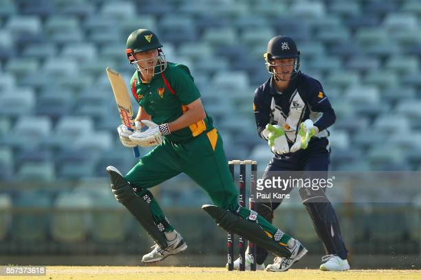 Simon Milenko of the Tigers works the ball away during the JLT One Day Cup match between Victoria and Tasmania at WACA on October 4 2017 in Perth...