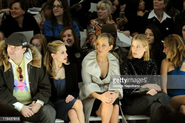Simon Monjack actress Brittany Murphy actress Kim Raver Mary Alice Stephenson and actress Becki Newton attend Monique Lhuillier Fall 2008 during...