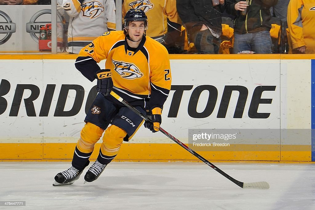 <a gi-track='captionPersonalityLinkClicked' href=/galleries/search?phrase=Simon+Moser&family=editorial&specificpeople=7727793 ng-click='$event.stopPropagation()'>Simon Moser</a> #21 of the Nashville Predators plays against the Tampa Bay Lightning at Bridgestone Arena on February 27, 2014 in Nashville, Tennessee.