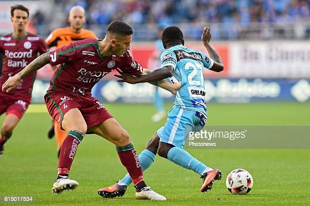 Simon Moses forward of KAA Gent and Luca Marrone midfielder of SV Zulte Waregem during the Jupiler Pro League match between KAA Gent and SV Zulte...