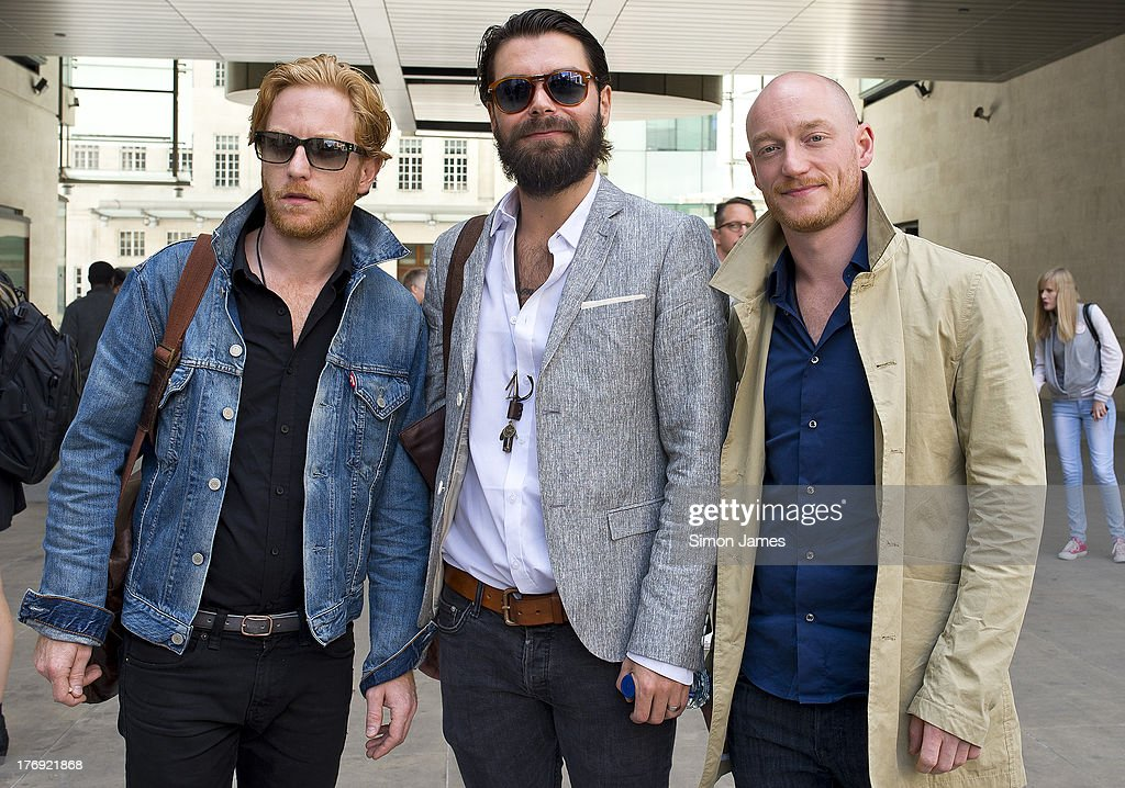 <a gi-track='captionPersonalityLinkClicked' href=/galleries/search?phrase=Simon+Neil&family=editorial&specificpeople=714520 ng-click='$event.stopPropagation()'>Simon Neil</a> and James Johnston and Ben Johnston of Biffy Clyro sighting at BBC radio one on August 19, 2013 in London, England.