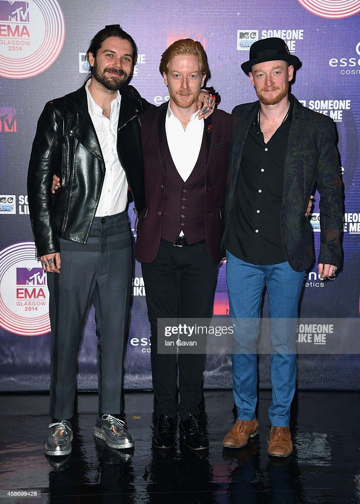 Simon Neil, Ben Johnston and James Johnston of Biffy Clyro attend the MTV EMA's 2014 at The Hydro on November 9, 2014 in Glasgow, Scotland.