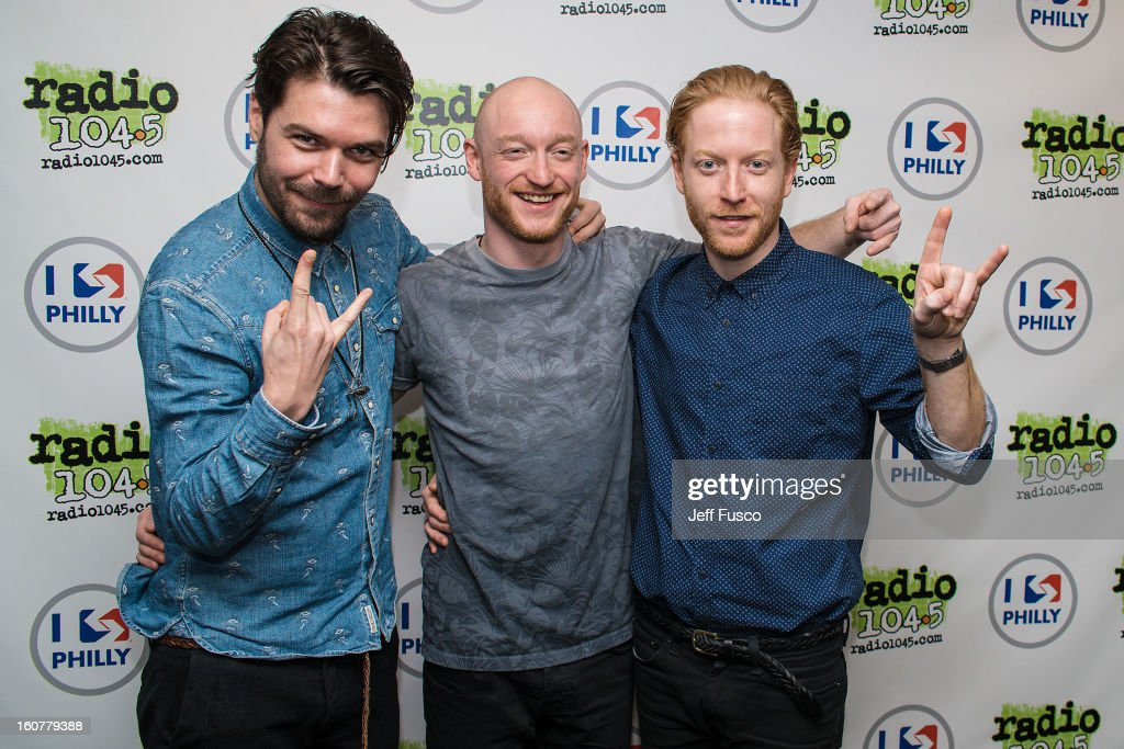 Simon Neil, Ben Johnston and James Johnston of Biffy Clyro pose at the 104.5 iHeart Performance Theater on February 5, 2013 in Bala Cynwyd, Pennsylvania.