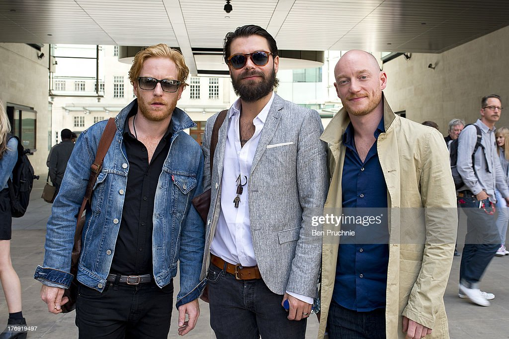 <a gi-track='captionPersonalityLinkClicked' href=/galleries/search?phrase=Simon+Neil&family=editorial&specificpeople=714520 ng-click='$event.stopPropagation()'>Simon Neil</a>, James Johnston and <a gi-track='captionPersonalityLinkClicked' href=/galleries/search?phrase=Ben+Johnston&family=editorial&specificpeople=224908 ng-click='$event.stopPropagation()'>Ben Johnston</a> of Biffy Clyro sighted at BBC Radio 1 on August 19, 2013 in London, England.
