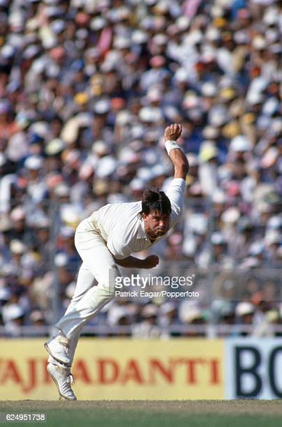 Simon O'Donnell bowling for Australia during the World Cup Final between Australia and England at Eden Gardens Calcutta India 8th November 1987