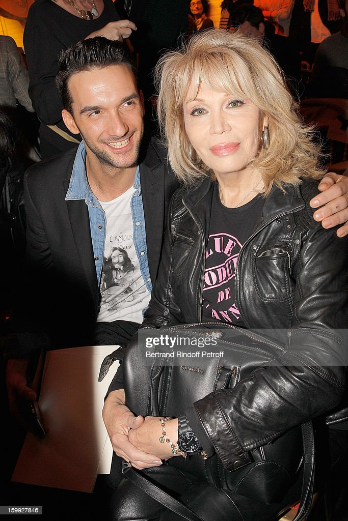 Simon Oldani (L) and <a gi-track='captionPersonalityLinkClicked' href=/galleries/search?phrase=Amanda+Lear&family=editorial&specificpeople=2028746 ng-click='$event.stopPropagation()'>Amanda Lear</a> attend the Jean-Paul Gaultier Spring/Summer 2013 Haute-Couture show as part of Paris Fashion Week at on January 23, 2013 in Paris, France.