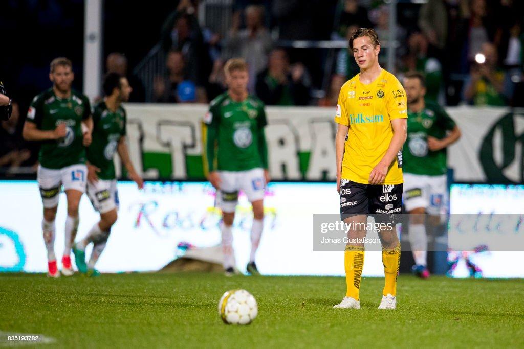 Simon Olsson of IF Elfsborg dejected during the Allsvenskan match between Jonkopings Sodra IF and IF Elfsborg at Stadsparksvallen on August 18, 2017 in Jonkoping, Sweden.