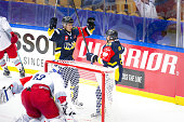 Simon Onerud of HV71 celebrates the goal 41 during the Champions Hockey League group stage game between HV71 Jonkoping and Red Bull Salzburg on...