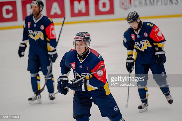 Simon Onerud of HV71 in action during the Champions Hockey League group stage game between HV71 Jonkoping and SonderjyskE Vojens on August 29 2015 in...