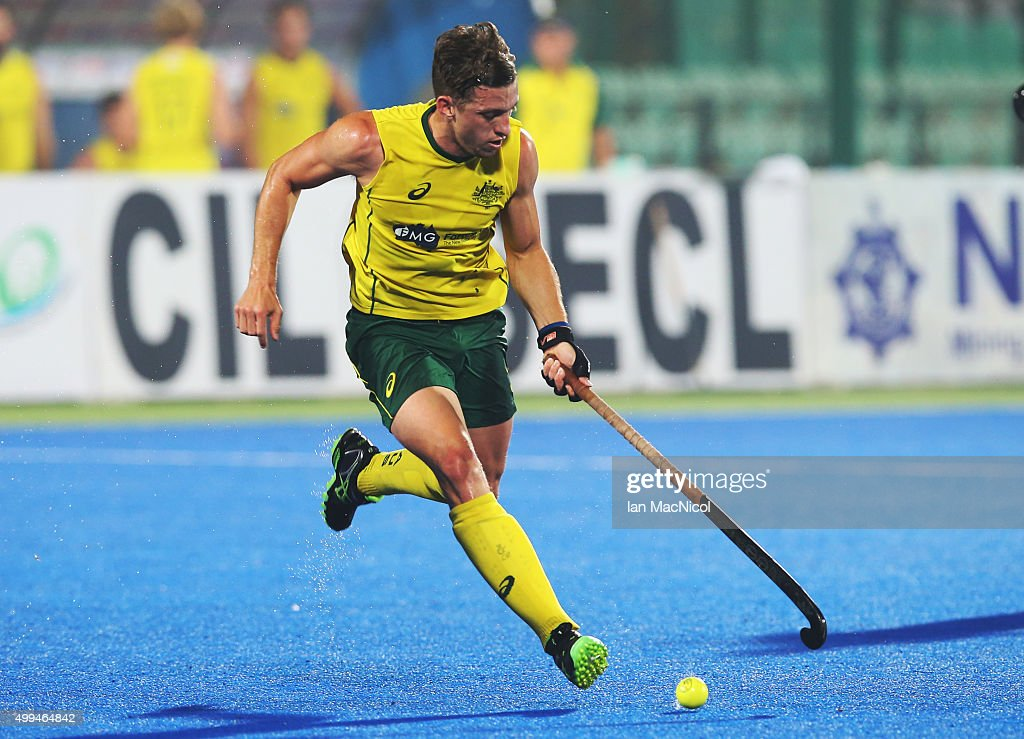 <a gi-track='captionPersonalityLinkClicked' href=/galleries/search?phrase=Simon+Orchard&family=editorial&specificpeople=4115447 ng-click='$event.stopPropagation()'>Simon Orchard</a> of Australia controls the ball during the match between Australia and Canada on day five of The Hero Hockey League World Final at the Sardar Vallabh Bhai Patel International Hockey Stadium on December 01, 2015 in Raipur, India.