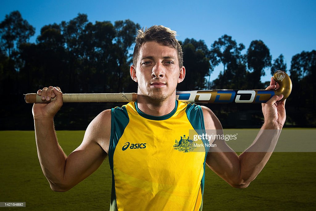 <a gi-track='captionPersonalityLinkClicked' href=/galleries/search?phrase=Simon+Orchard&family=editorial&specificpeople=4115447 ng-click='$event.stopPropagation()'>Simon Orchard</a> poses during an Australian Men's Kookaburras hockey portrait session at AIS on March 30, 2012 in Canberra, Australia.
