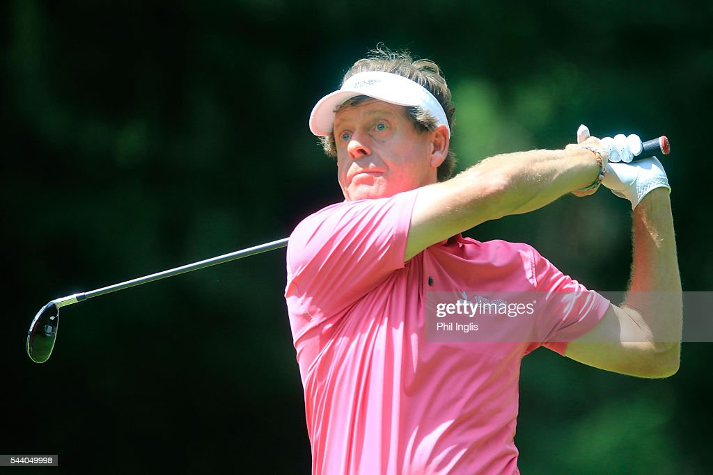 Simon P Brown of England in action during the the first round of the Swiss Seniors Open played at Golf Club Bad Ragaz on July 1, 2016 in Bad Ragaz, Switzerland.