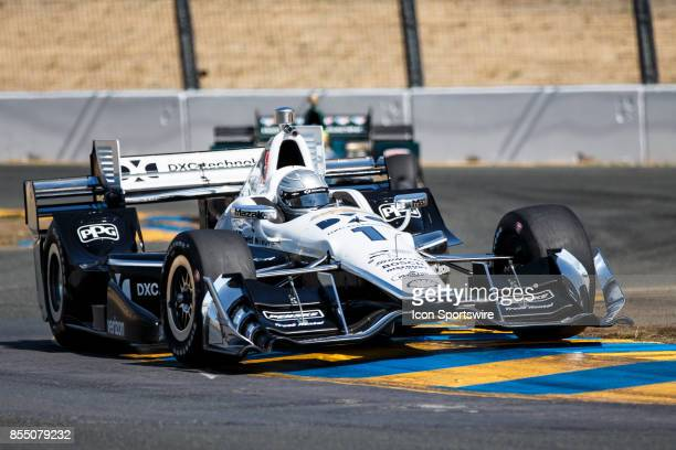 Simon Pagenaud in the Chevrolet powered DXC Tech Team Penske IR12 at the bus stop during warmup for the Verizon Indycar Series GoPro Grand Prix of...