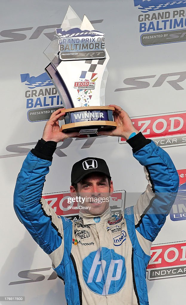 <a gi-track='captionPersonalityLinkClicked' href=/galleries/search?phrase=Simon+Pagenaud&family=editorial&specificpeople=4184388 ng-click='$event.stopPropagation()'>Simon Pagenaud</a>, of France, driver of the #77 Schmidt Hamilton Motorsports Honda Dallara celebrates in victory lane after winning the Grand Prix of Baltimore on September 1, 2013 in Baltimore, Maryland.