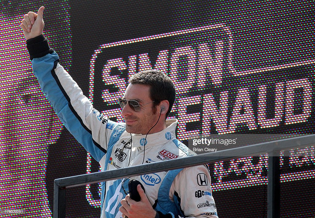<a gi-track='captionPersonalityLinkClicked' href=/galleries/search?phrase=Simon+Pagenaud&family=editorial&specificpeople=4184388 ng-click='$event.stopPropagation()'>Simon Pagenaud</a>, of France, driver of the #77 Schmidt Hamilton Motorsports Honda Dallara waves to fans before the Grand Prix of Baltimore on September 1, 2013 in Baltimore, Maryland.