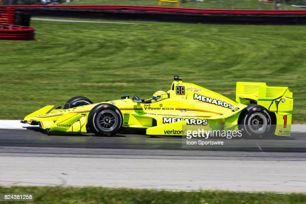 Simon Pagenaud of France drives the Chevrolet IndyCar for Team Penske during qualifying for the Verizon IndyCar Series Honda Indy 200 at MidOhio on...