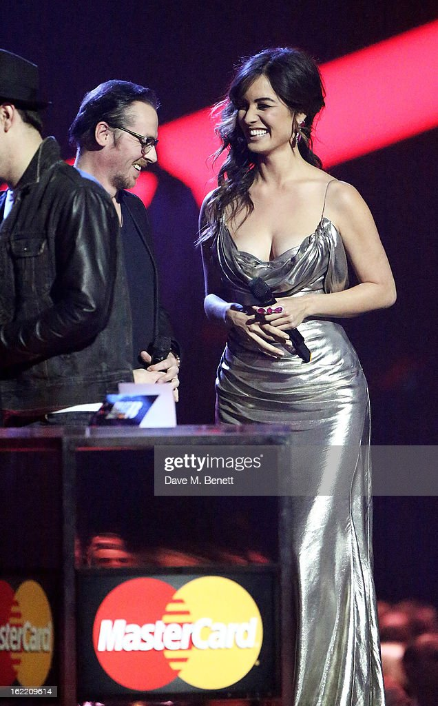 Simon Pegg and Berenice Marlohe present at the Brit Awards at 02 Arena on February 20 2013 in London England