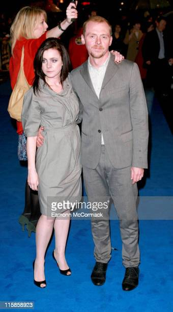 Simon Pegg and Guest during 'Hot Fuzz' London Premiere Outside Arrivals at Vue West End in London Great Britain