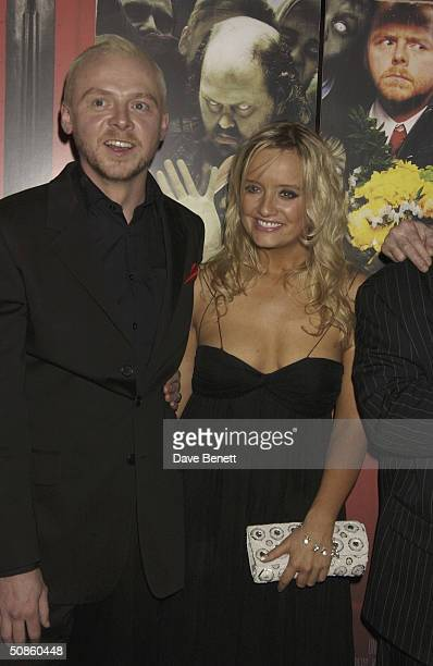 Simon Pegg and Lucy Davies attend the UK Premiere of 'Shaun of the Dead' at The Vue in Leicester Square followed by the party at the Atlantic Bar and...