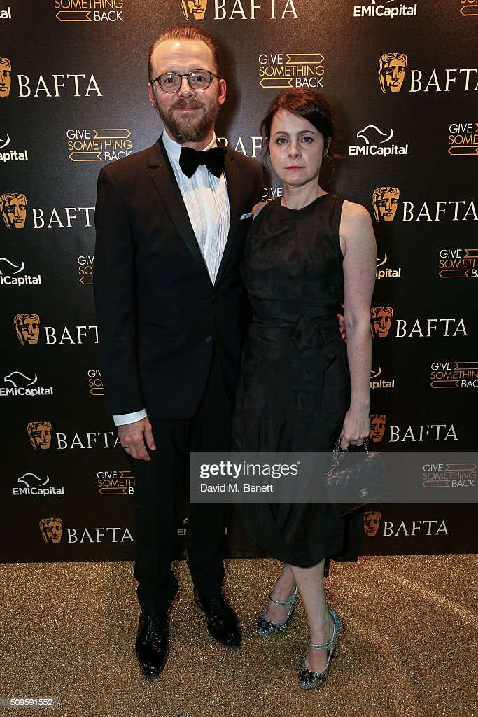 Simon Pegg and Maureen McCann attend the BAFTA Film Gala in aid of the 'Give Something Back' campaign at BAFTA Piccadilly on February 11, 2016 in London, England.