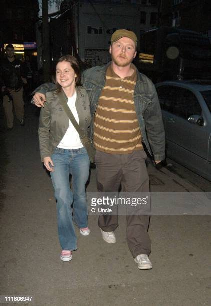 Simon Pegg and Maureen McCann during Coldplay Secret Performance Arrivals at Round Chapel Church Hackney in London Great Britain