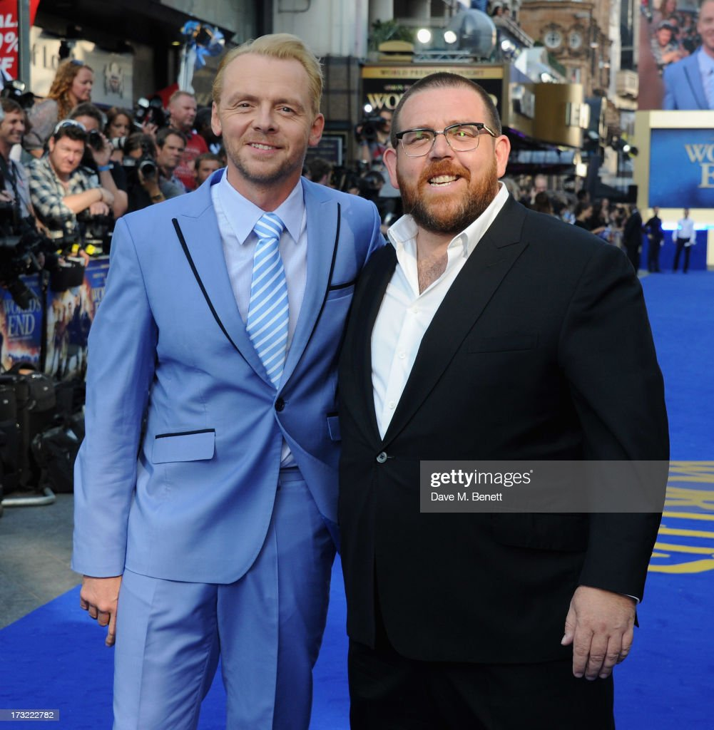 Simon Pegg and Nick Frost attend the World Premiere of 'The World's End' at Empire Leicester Square on July 10, 2013 in London, England.